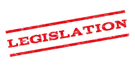 legislation: Legislation watermark stamp. Text caption between parallel lines with grunge design style. Rubber seal stamp with unclean texture. Vector red color ink imprint on a white background.