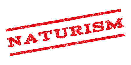 naturism: Naturism watermark stamp. Text caption between parallel lines with grunge design style. Rubber seal stamp with scratched texture. Vector red color ink imprint on a white background.