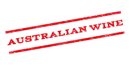 parallel: Australian Wine watermark stamp. Text caption between parallel lines with grunge design style. Rubber seal stamp with unclean texture. Glyph red color ink imprint on a white background.