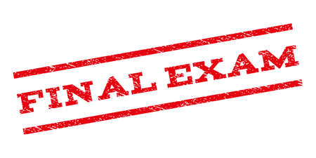 Final Exam watermark stamp. Text tag between parallel lines with grunge design style. Rubber seal stamp with unclean texture. Glyph red color ink imprint on a white background.