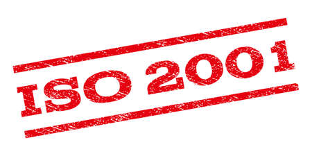 ISO 2001 watermark stamp. Text caption between parallel lines with grunge design style. Rubber seal stamp with unclean texture. Glyph red color ink imprint on a white background.