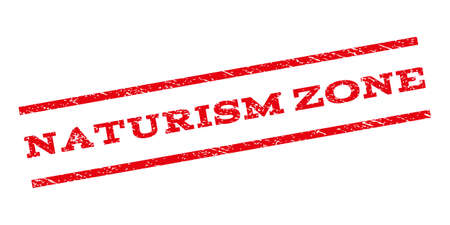 naturism: Naturism Zone watermark stamp. Text tag between parallel lines with grunge design style. Rubber seal stamp with dust texture. Glyph red color ink imprint on a white background. Stock Photo