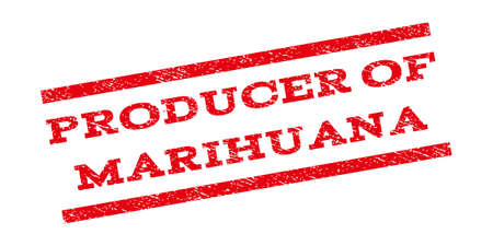 Producer Of Marihuana watermark stamp. Text caption between parallel lines with grunge design style. Rubber seal stamp with unclean texture. Glyph red color ink imprint on a white background.