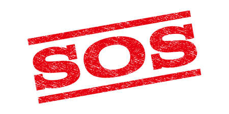 Sos watermark stamp. Text tag between parallel lines with grunge design style. Rubber seal stamp with dust texture. Glyph red color ink imprint on a white background.