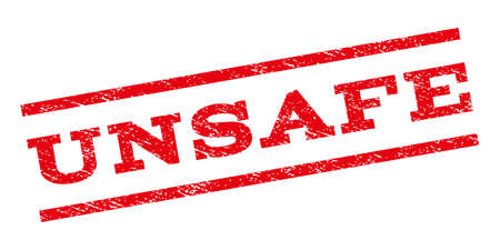 unsafe: Unsafe watermark stamp. Text tag between parallel lines with grunge design style. Rubber seal stamp with unclean texture. Glyph red color ink imprint on a white background. Stock Photo
