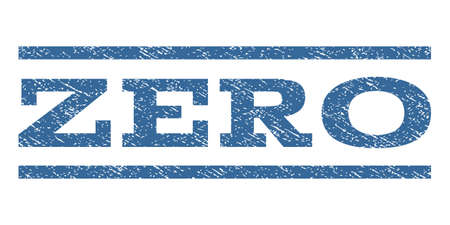 Zero watermark stamp. Text tag between horizontal parallel lines with grunge design style. Rubber seal cobalt blue stamp with dirty texture. Vector ink imprint on a white background.