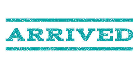arrived: Arrived watermark stamp. Text tag between horizontal parallel lines with grunge design style. Rubber seal cyan stamp with dirty texture. Vector ink imprint on a white background.