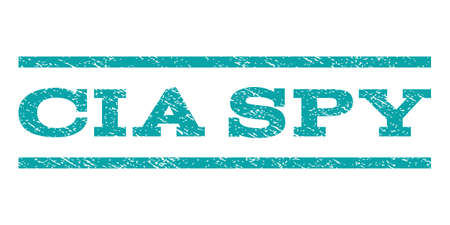 CIA Spy watermark stamp. Text caption between horizontal parallel lines with grunge design style. Rubber seal cyan stamp with scratched texture. Vector ink imprint on a white background.