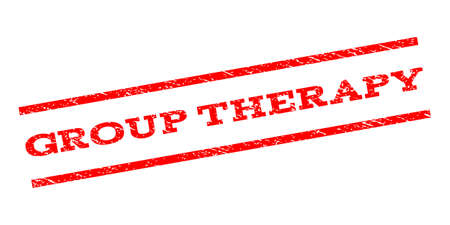 therapy group: Group Therapy watermark stamp. Text tag between parallel lines with grunge design style. Rubber seal stamp with dust texture. Vector red color ink imprint on a white background.