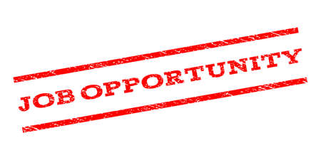 job opportunity: Job Opportunity watermark stamp. Text tag between parallel lines with grunge design style. Rubber seal stamp with dust texture. Vector red color ink imprint on a white background.