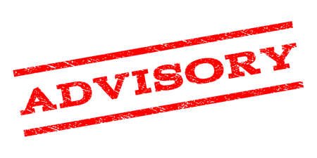 advisory: Advisory watermark stamp. Text tag between parallel lines with grunge design style. Rubber seal stamp with scratched texture. Vector red color ink imprint on a white background. Illustration