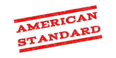 American Standard watermark stamp. Text caption between parallel lines with grunge design style. Rubber seal stamp with unclean texture. Vector red color ink imprint on a white background.