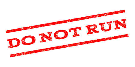 no correr: Do Not Run watermark stamp. Text tag between parallel lines with grunge design style. Rubber seal stamp with dust texture. Vector red color ink imprint on a white background.