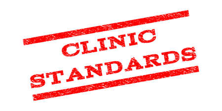 Clinic Standards watermark stamp. Text caption between parallel lines with grunge design style. Rubber seal stamp with dust texture. Vector red color ink imprint on a white background.