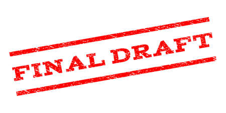 parallel: Final Draft watermark stamp. Text caption between parallel lines with grunge design style. Rubber seal stamp with dust texture. Vector red color ink imprint on a white background.