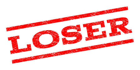 Loser watermark stamp. Text caption between parallel lines with grunge design style. Rubber seal stamp with scratched texture. Vector red color ink imprint on a white background.