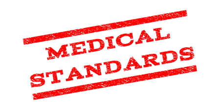 Medical Standards watermark stamp. Text tag between parallel lines with grunge design style. Rubber seal stamp with dirty texture. Vector red color ink imprint on a white background.