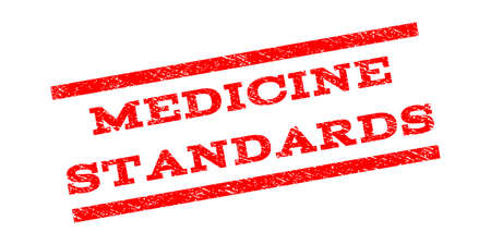 Medicine Standards watermark stamp. Text tag between parallel lines with grunge design style. Rubber seal stamp with dirty texture. Vector red color ink imprint on a white background.