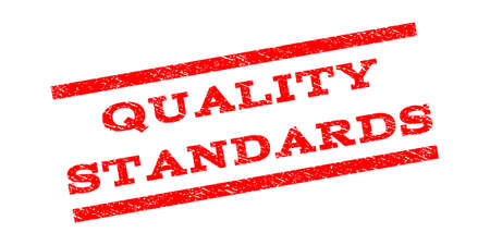 Quality Standards watermark stamp. Text caption between parallel lines with grunge design style. Rubber seal stamp with scratched texture. Vector red color ink imprint on a white background.