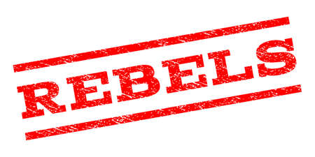 heretic: Rebels watermark stamp. Text tag between parallel lines with grunge design style. Rubber seal stamp with unclean texture. Vector red color ink imprint on a white background.
