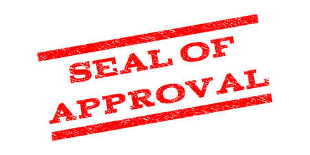 sanctioned: Seal Of Approval watermark stamp. Text tag between parallel lines with grunge design style. Rubber seal stamp with dirty texture. Vector red color ink imprint on a white background. Illustration