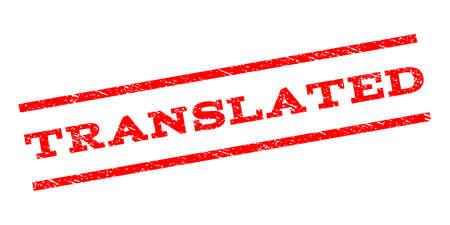 透かしスタンプを翻訳しました。グランジ デザイン スタイルと平行線間テキスト タグ。ゴムスリーブは、ほこりのテクスチャでスタンプ。白の背景にベクトル赤い色インク跡。