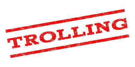 trolling: Trolling watermark stamp. Text caption between parallel lines with grunge design style. Rubber seal stamp with scratched texture. Vector red color ink imprint on a white background.
