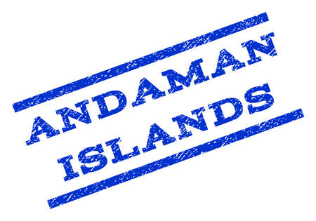 Andaman Islands watermark stamp. Text tag between parallel lines with grunge design style. Rotated rubber seal stamp with scratched texture. Vector blue ink imprint on a white background.