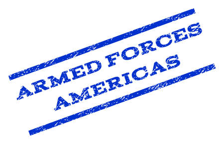 americas: Armed Forces Americas watermark stamp. Text caption between parallel lines with grunge design style. Rotated rubber seal stamp with unclean texture. Vector blue ink imprint on a white background. Illustration