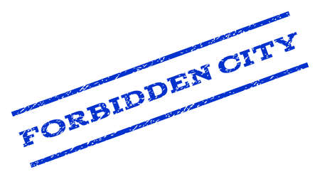 forbidden city: Forbidden City watermark stamp. Text tag between parallel lines with grunge design style. Rotated rubber seal stamp with unclean texture. Vector blue ink imprint on a white background. Illustration