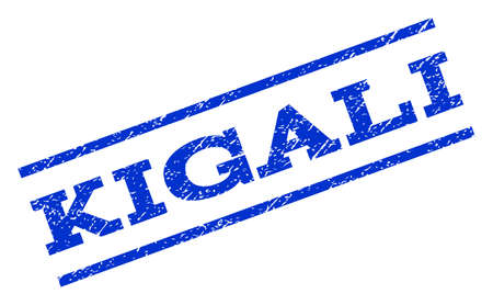 kigali: Kigali watermark stamp. Text caption between parallel lines with grunge design style. Rotated rubber seal stamp with unclean texture. Vector blue ink imprint on a white background. Illustration