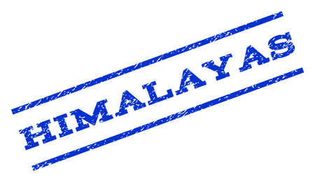himalayas: Himalayas watermark stamp. Text tag between parallel lines with grunge design style. Rotated rubber seal stamp with scratched texture. Vector blue ink imprint on a white background.