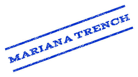 mariana: Mariana Trench watermark stamp. Text tag between parallel lines with grunge design style. Rotated rubber seal stamp with dirty texture. Vector blue ink imprint on a white background.