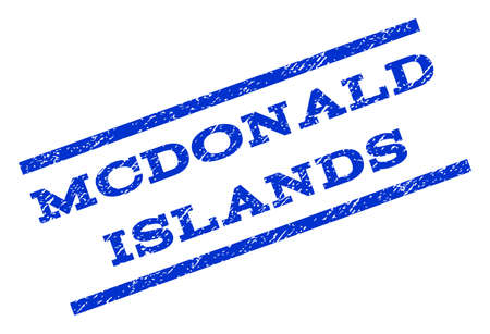 mcdonald: Mcdonald Islands watermark stamp. Text tag between parallel lines with grunge design style. Rotated rubber seal stamp with unclean texture. Vector blue ink imprint on a white background.