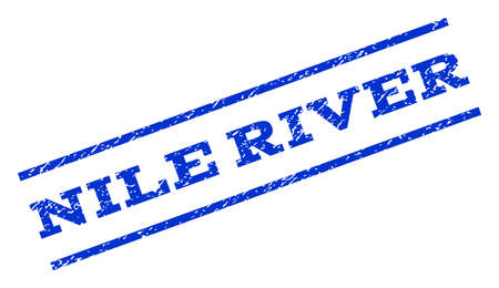 Nile River watermark stamp. Text caption between parallel lines with grunge design style. Rotated rubber seal stamp with unclean texture. Vector blue ink imprint on a white background.