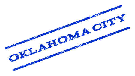 oklahoma city: Oklahoma City watermark stamp. Text tag between parallel lines with grunge design style. Rotated rubber seal stamp with dust texture. Vector blue ink imprint on a white background. Illustration