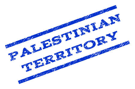 Palestinian Territory watermark stamp. Text caption between parallel lines with grunge design style. Rotated rubber seal stamp with dust texture. Vector blue ink imprint on a white background.