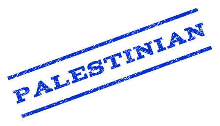Palestinian watermark stamp. Text caption between parallel lines with grunge design style. Rotated rubber seal stamp with unclean texture. Vector blue ink imprint on a white background.