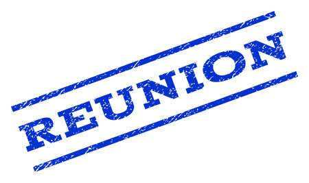 reunion: Reunion watermark stamp. Text tag between parallel lines with grunge design style. Rotated rubber seal stamp with unclean texture. Vector blue ink imprint on a white background.