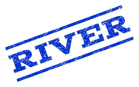 River watermark stamp. Text caption between parallel lines with grunge design style. Rotated rubber seal stamp with dust texture. Vector blue ink imprint on a white background.