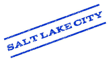 salt lake city: Salt Lake City watermark stamp. Text tag between parallel lines with grunge design style. Rotated rubber seal stamp with scratched texture. Vector blue ink imprint on a white background.