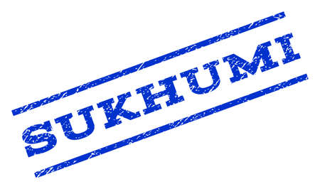 sukhumi: Sukhumi watermark stamp. Text tag between parallel lines with grunge design style. Rotated rubber seal stamp with dust texture. Vector blue ink imprint on a white background. Illustration