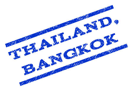 thailand bangkok: Thailand, Bangkok watermark stamp. Text caption between parallel lines with grunge design style. Rotated rubber seal stamp with dust texture. Vector blue ink imprint on a white background.