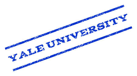 yale: Yale University watermark stamp. Text tag between parallel lines with grunge design style. Rotated rubber seal stamp with unclean texture. Vector blue ink imprint on a white background. Illustration