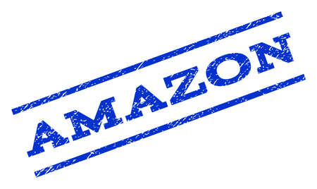 amazon: Amazon watermark stamp. Text tag between parallel lines with grunge design style. Rotated rubber seal stamp with scratched texture. Vector blue ink imprint on a white background. Illustration