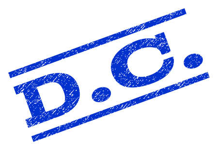 district of columbia: D.C. watermark stamp. Text tag between parallel lines with grunge design style. Rotated rubber seal stamp with scratched texture. Vector blue ink imprint on a white background.