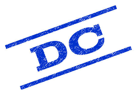 district of columbia: DC watermark stamp. Text caption between parallel lines with grunge design style. Rotated rubber seal stamp with unclean texture. Vector blue ink imprint on a white background. Illustration