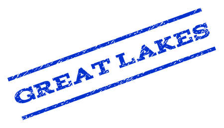 great lakes: Great Lakes watermark stamp. Text caption between parallel lines with grunge design style. Rotated rubber seal stamp with unclean texture. Vector blue ink imprint on a white background. Illustration