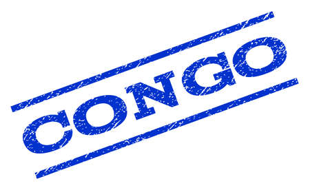 Congo watermark stamp. Text tag between parallel lines with grunge design style. Rotated rubber seal stamp with scratched texture. Vector blue ink imprint on a white background.