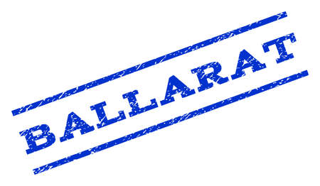 ballarat: Ballarat watermark stamp. Text caption between parallel lines with grunge design style. Rotated rubber seal stamp with dirty texture. Vector blue ink imprint on a white background.